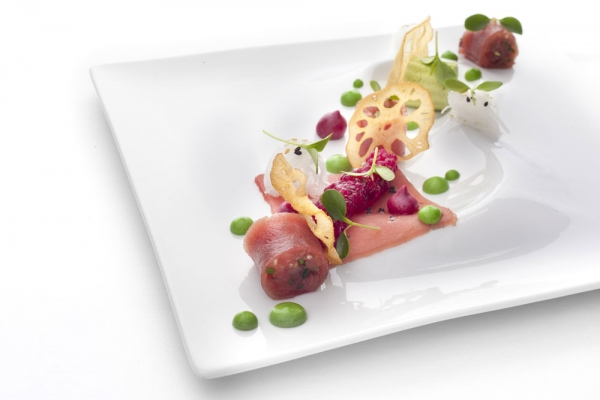 Alcron Hotel Prague, Alcron - Tuna sashimi with tapioca, daikon and parsley mayonnaise